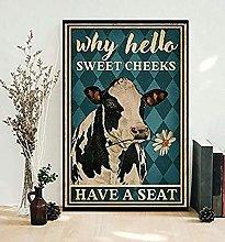 "Targa in metallo con scritta in inglese ""Cow Why"