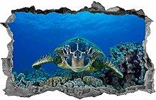 Tartaruga marina, adesivo, 3D, murale, vita