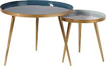 Tavoli sovrapponibili in metallo blu e dorato