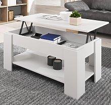 Tavolino alzabile da salottoNicoleta in bianco