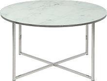 Tavolino basso rotondo effetto marmo bianco e