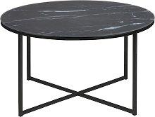 Tavolino basso rotondo effetto marmo nero piedi