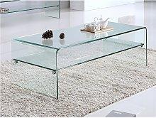 Tavolino con Doppio ripiano in Vetro temperato -