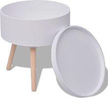 Tavolino con Vassoio Rotondo 39,5x44,5 cm Bianco -
