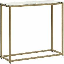 Tavolino consolle effetto marmo bianco e oro DELANO