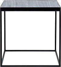 Tavolino da divano in marmo e metallo nero