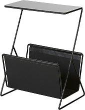 Tavolino da divano portariviste in metallo nero e