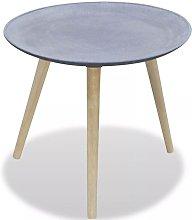 Tavolino Laterale Rotondo Grigio Imitazione