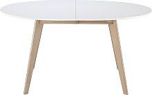 Tavolo allungabile ovale bianco e legno chiaro