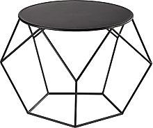 Tavolo basso rotondo nero in metallo