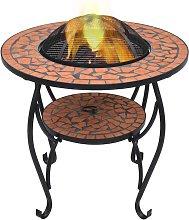 Tavolo con Braciere a Mosaico Terracotta 68cm in