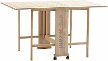 Tavolo consolle richiudibile in legno con ruote