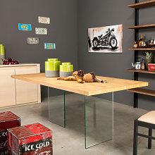 Tavolo cristallo e legno piano con bordo dritto