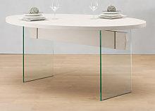 Tavolo cristallo e rovere bordo dritto