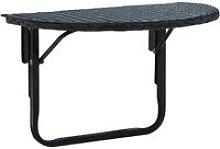 Tavolo da Balcone 60x60x32 cm Nero in Polyrattan