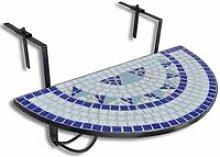 Tavolo da Balcone Sospeso Blu e Bianco a Mosaico