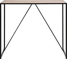 Tavolo da bar in legno e piedi in metallo nero