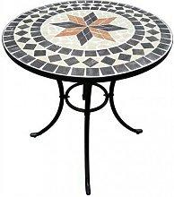Tavolo Da Esterno In Mosaico Di Pietra Rotondo 60