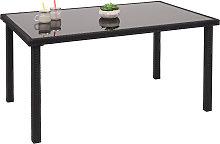 Tavolo da esterno polyrattan piano in vetro