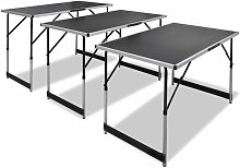 Tavolo da Lavoro Set 3 pz Pieghevole Altezza
