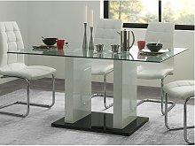 Tavolo da pranzo 6 posti in in vetro temperato e