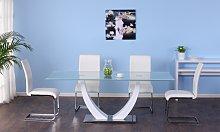 Tavolo da pranzo 8 posti in MDF e in vetro
