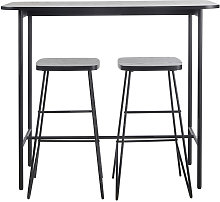 Tavolo da pranzo alto con 2 sgabelli nero opaco 2