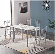 Tavolo Da Pranzo Completo Di 4 Sedie Effetto Marmo