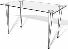 Tavolo da Pranzo con Piano in Vetro Trasparente