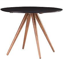 Tavolo da pranzo rotondo design noce e nero D106