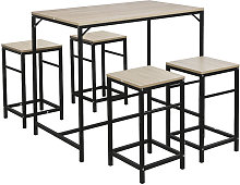 Tavolo e sedie da bar, tavolo alto con 4 sgabelli,