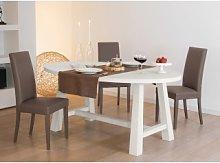 Tavolo in rovere con piano ovale
