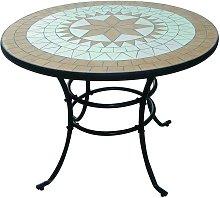 Tavolo liberty mosaico in acciaio decorazioni ad