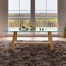 Tavolo moderno in legno con piano in vetro