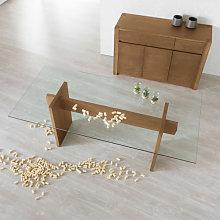 Tavolo moderno in legno e vetro
