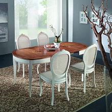Tavolo ovalino intarsiato bassano 115/203x95