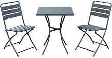 Tavolo per bar e giardino in acciaio con due sedie