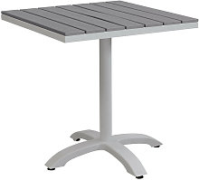 Tavolo Quadrato In Alluminio Tortora E Polywood