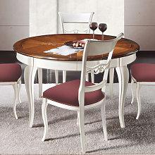 Tavolo rotondo con intarsio Verona 140/260X140