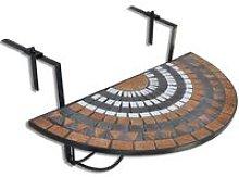 Tavolo Sospeso da Balcone in Terracotta e Bianco a