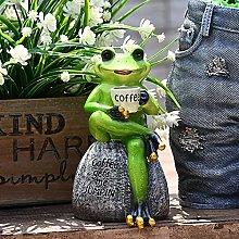 TEAYASON Scultura da Giardino Rana Che Beve Caffè