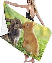 Telo Mare Microfibra,Simpatici Conigli Animali Che