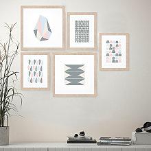 Tema - Set 5 quadri stile orientale stampe collage