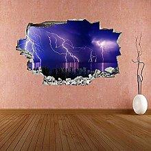 Temporale fulmine sul mare adesivo murale