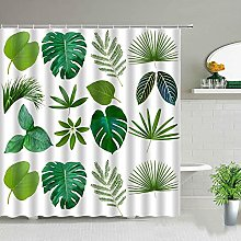 Tenda da doccia con pianta tropicale verde, tenda