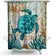 Tenda da doccia con tartaruga marina verde Tende