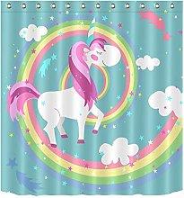 Tenda da doccia impermeabile con motivo unicorno
