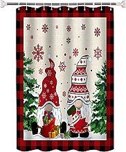 Tenda da Doccia Motivo natalizio rosso Tessuto Per