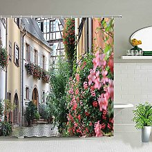 Tenda da doccia per bagno con paesaggio di fiori e
