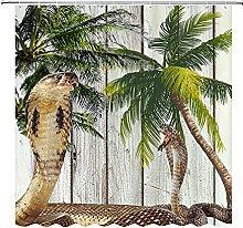 Tenda doccia Cobra, due serpenti, tavole bianche,